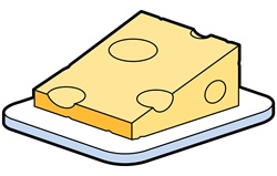 Slice of cheese on tray