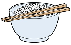 Chinese noodles in bowl and chopsticks
