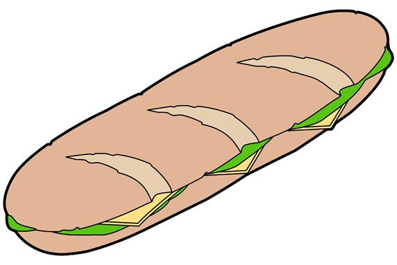 Large sandwich on white background