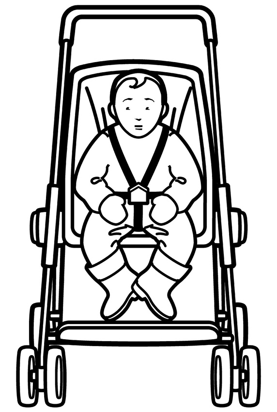 Boy sitting in baby carriage