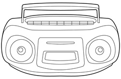 Boom box on white background
