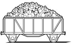 Cart of coal on white background