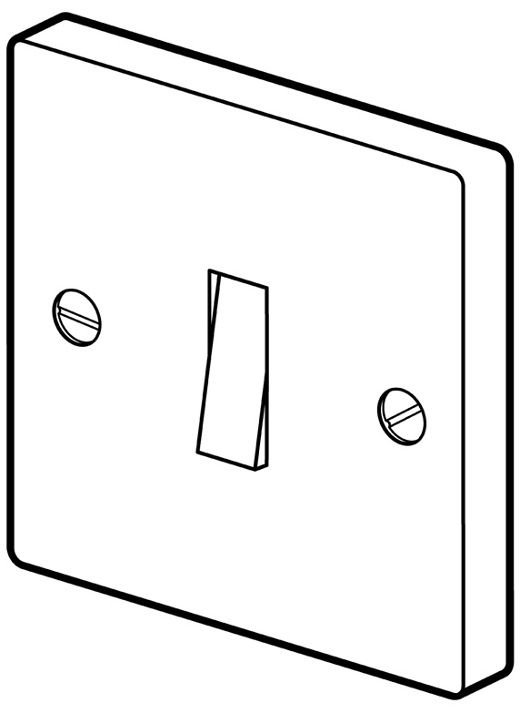 Light switch on white background