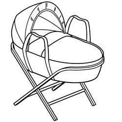 Rocking cradle on white background
