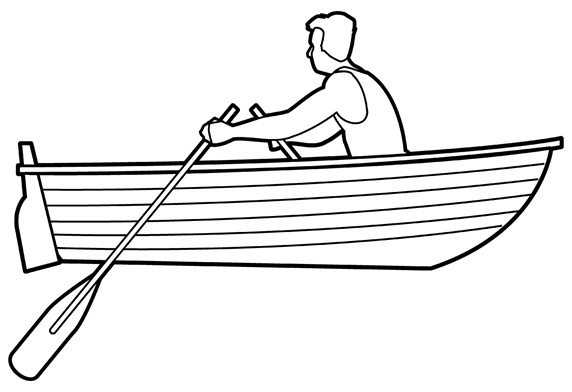 Man rowing boat