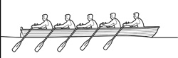 Five people rowing in regatta
