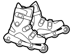 Rollerblades on white background