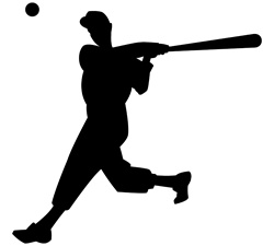 Silhouette of man playing baseball