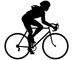 Silhouette of woman riding bike