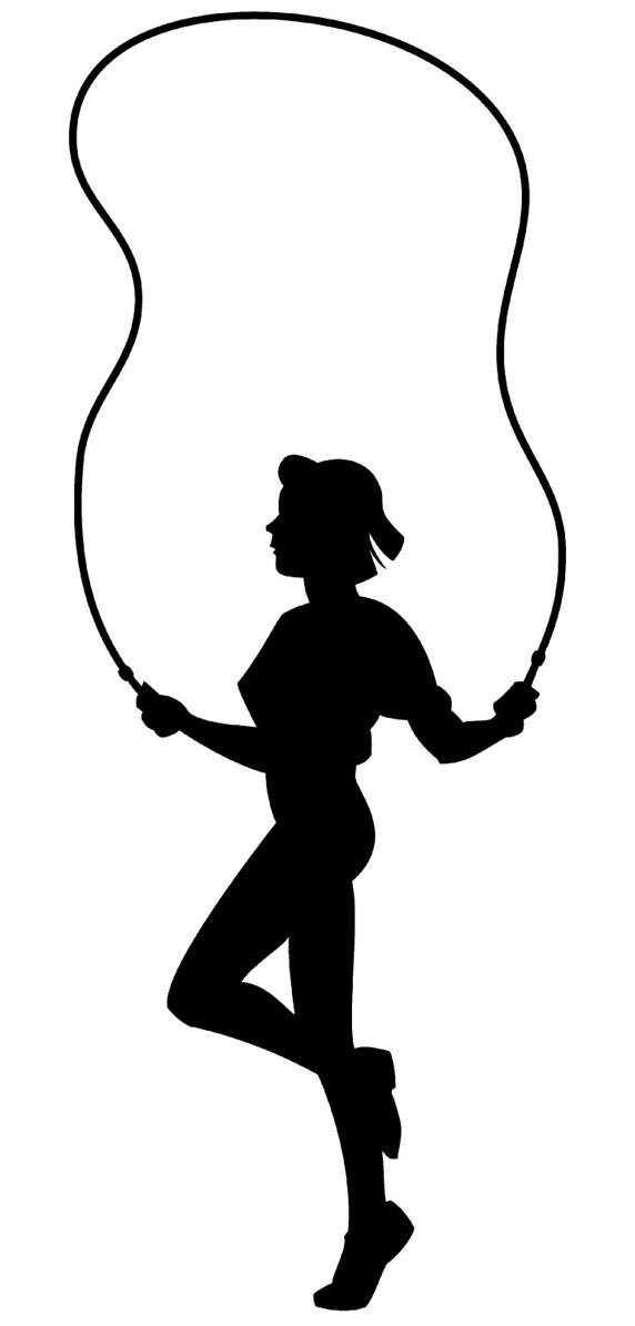 Silhouette of woman on jump rope
