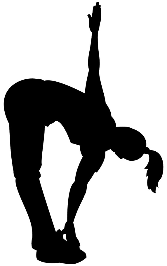 Silhouette of woman exercising