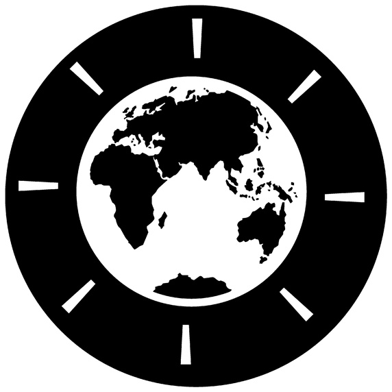 World map on clock