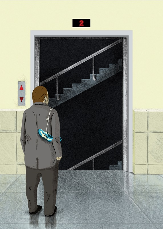 Man standing in front of elevator