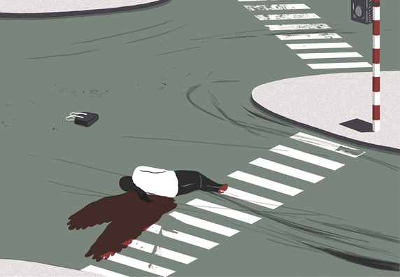 Car accident victim lying on street intersection