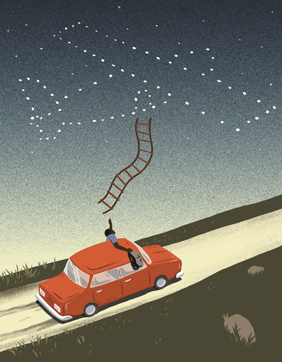 Man in car reaching to airplane shaped stars on sky