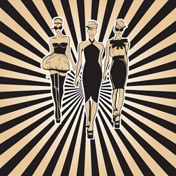 Three fashion models side by side approaching camera with striped background pattern