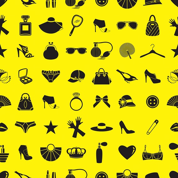 Pattern of black feminine clothing accessories on yellow background