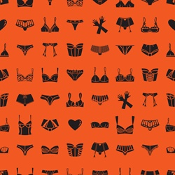 Pattern of different bras, panties and gloves on orange background