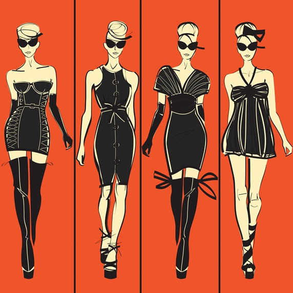 Four elegant fashion models side by side approaching camera wearing black dresses