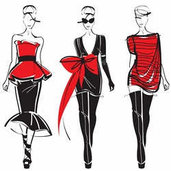 Three elegant fashion models side by side approaching camera wearing black and red