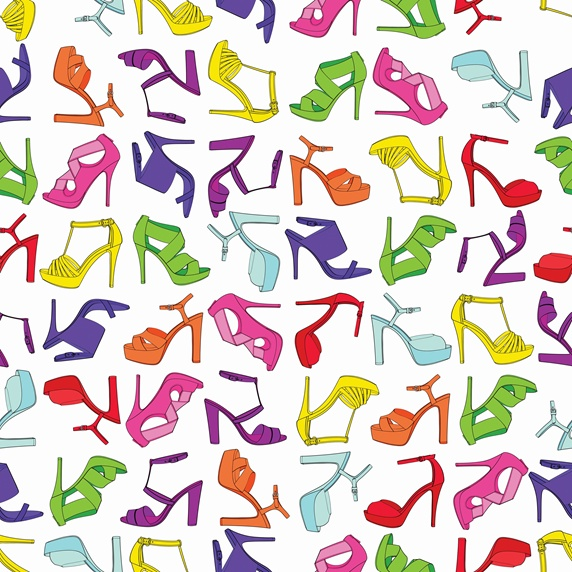Pattern of lots of different multicolored high heel shoes