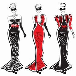 Three elegant fashion models side by side approaching camera wearing evening gowns