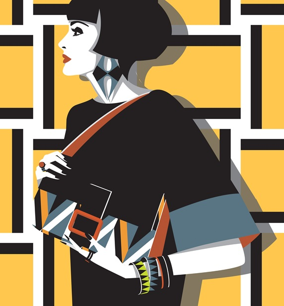 Elegant woman with geometric patterns