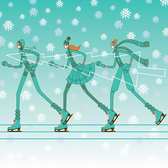 Fashionable young women ice skating in a row carrying christmas tree