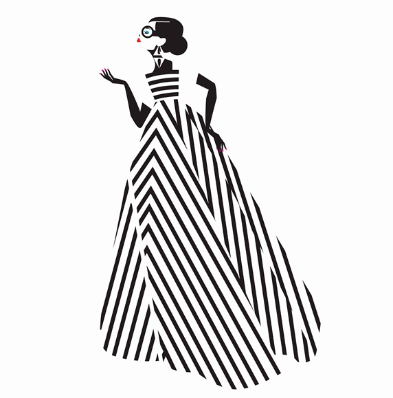Fashion model posing in black and white striped evening gown