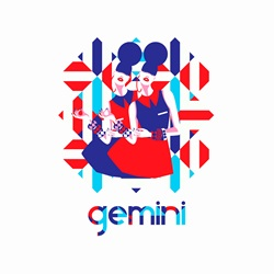Twin fashion models in geometric pattern as gemini zodiac sign