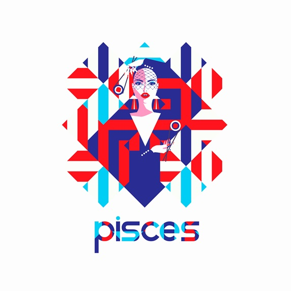 Fashion model in geometric pattern as pisces zodiac sign