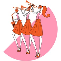 Women playing wind instruments against pink semi-circle