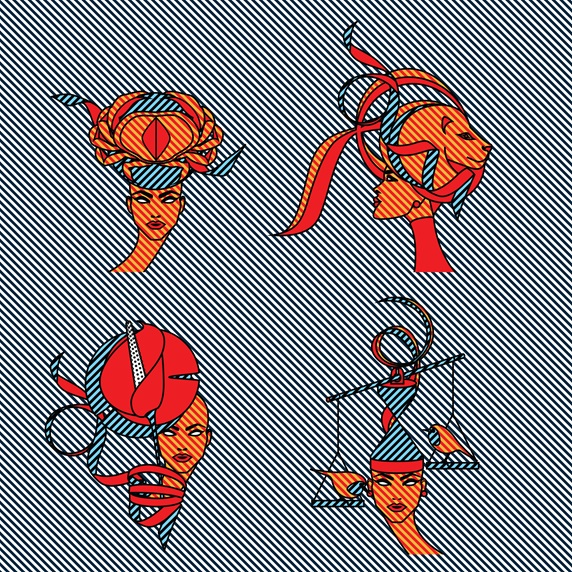 Woman with various zodiac headdresses