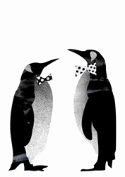 Two penguins in bow ties